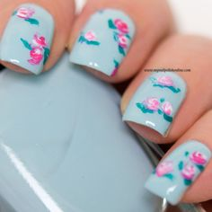 Delicate Print ~ Zoya 'Lillian' with IsaDora 'Cherise' and 'Marble' for the roses with Wet n Wild 'Miami Spirit' for the leaves ~ by My Nail Polish Online Flower Nail Art, Art Flowers, Beauty Care, Hair Beauty, Nail Polish Online, Nails Only, Art Nails, Cute Nail Designs, Nail Arts
