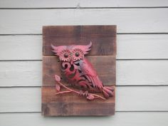 Love This! Reclaimed wood with red metal owl by BloomingTreeDesigns on Etsy, $52.00