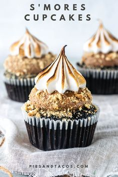 Chocolate Cupcakes, filled with Milk Chocolate Ganache, topped with a Milk Chocolate Buttercream, coated in graham cracker crumbs, topped with toasted Marshmallow Frosting. #smores #cupcakes #buttercream #milkchocolate #grahamcrackers