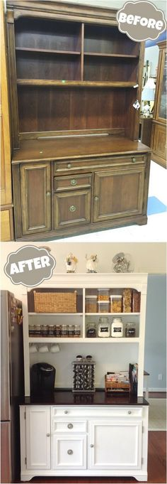 Best of Before & After Furniture Makeovers: Creative DIY Ways to Repurpose Your Old Furniture DIY Furniture Makeovers: Thrift Store Hutch Makeover. Furniture Projects, Furniture Making, Home Furniture, Furniture Design, Kitchen Furniture, Bedroom Furniture, Apartment Furniture, Wood Projects, Furniture Repair