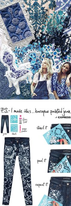 These are pretty fab and I can see doing them with our Michelle Ward Damask stencils! StencilGirlProducts.com Baroque Painted Jeans