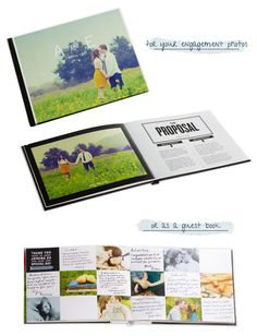 cute ideas for engagement book: proposal.  Cute idea for wedding book: notes from guest book