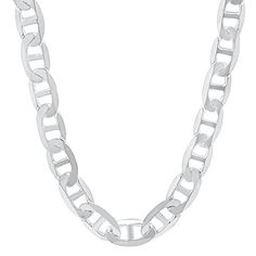 Men's 8mm Real .925 Sterling Silver Mariner Link Chain Necklace, 50 cm  Price…