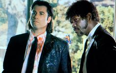 Pulp Fiction, American cult film directed by Quentin Tarantino and starring John Travolta and Samuel L. Jackson.