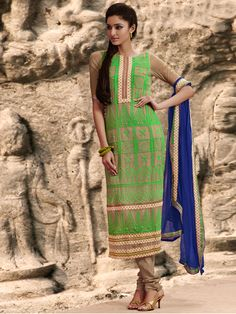 #Designer Straight Suit #Green #Indian Wear #Desi Fashion #Natasha Couture #Indian Ethnic Wear # Salwar Kameez #Indian Suit # Pakastani Suits