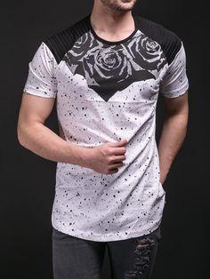 E1 Men Flow Chest Long T-shirt - White