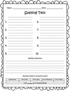 Spelling test - Track students writing progress using this spelling test with rubric and tracking sheet. Spelling Word Activities, Grade Spelling, Spelling Words, Grade 2, First Grade, Third Grade, Classroom Charts, Classroom Ideas, Reading Horizons