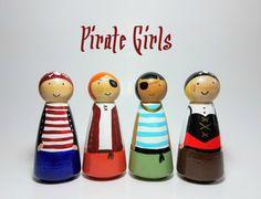 Chicas Peg Doll conjunto de vivero Decor favores de pirata
