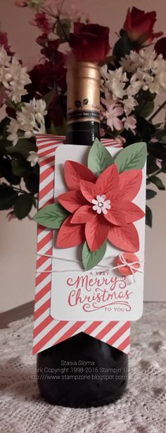 Stampin' & Scrappin' with Stasia: Poinsettia Wine Tag - SU Christmas Paper Crafts, Christmas Wine, Christmas Gift Tags, Xmas Cards, Holiday Cards, Fall Crafts, Wine Tags, Wine Bottle Tags, Wine Bottle Crafts