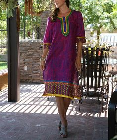 Look what I found on #zulily! Purple Three-Quarter Sleeve Embroidered Tunic - Women #zulilyfinds