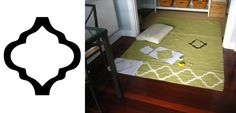This rug, originally purchased from Ikea, was hand painted with a stencil you can download here. Ahhh, a high end look...with an IKEA price tag, love it!