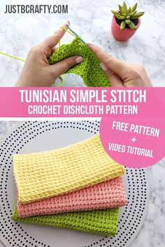 Learn to crochet the tunisian simple stitch in this step by step tutorial. Tunisian Simple Stitch Crochet Dishcloth Pattern #tunisiancrochet #tunisiansimplestitch #tunisiancrochetdishcloth #crochet #justbecrafty