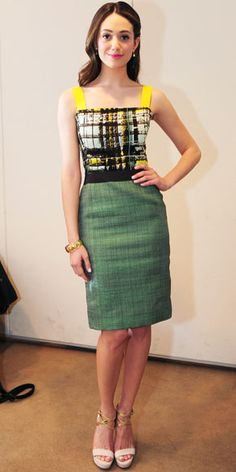 """Emmy Rossum in Carolina Herrera (2012 """"Live With Kelly"""" appearance)"""