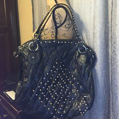 """Dollhouse leather studded large handbag Very cute, black leather with silver and gold studs...like new condition...measurements are 20""""17""""6...strap drop is 10 inches Dollhouse Bags Totes"""