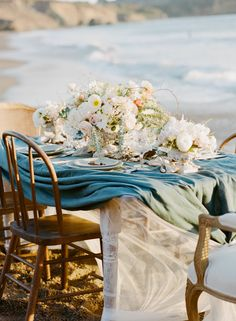 Elegant Beach Wedding Inspiration  Read more - http://www.stylemepretty.com/2014/03/11/elegant-beach-wedding-inspiration/