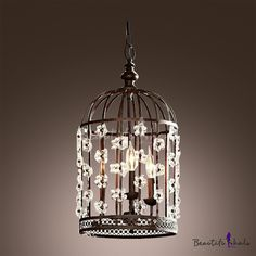 Bold Design Bird Cage Shape Antique Black Wrought Iron Pendant Chandelier Accented by Crystal Floral - Beautifulhalo.com