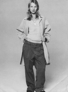 Omg. Does anyone remember this look in the nineties? Tiny shirt with huge pants. ten year old me would pin this on my real wall.