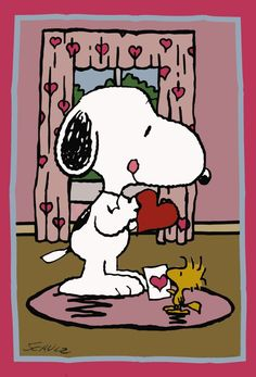 'Valentines Day ', Snoopy and Woodstock.