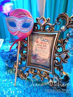Masquerade Quinceañera Party decorations! See more party planning ideas at CatchMyParty.com!