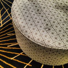 Roundabout ottoman in a crisp taupe & white geometric. High Point Market, Furniture Market, Beautiful Outfits, Beautiful Clothes, Color Patterns, Animal Print Rug, Design Elements, Home Furnishings, Printing On Fabric