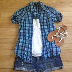 SALE! Express Short Sleeve Button Down - XS Express Short Sleeve Blue Plaid Button Down - XS. Blue plaid with some green and a touch of silver sparkle. Short sleeves are ruched. V-neck button down. In EUC! Express Tops