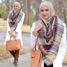 plaid checked scaf outfit, Winter hijab street styles by leena Asaad http://www.justtrendygirls.com/winter-hijab-street-styles-by-leena-asaad/