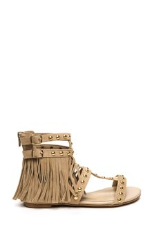 Fringe It Velvet Gladiator Sandals