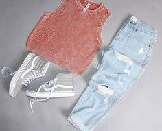 @jacksgirls featuring our Wake Me Up Ribbed Sweater Tank and our Kewl Kid Distressed Denim Jeans | RVCA