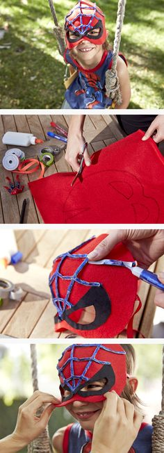 Purple ribbon, red and black felt, along with scissors and glue are all you need to create a DIY spider-man mask for your little superhero.