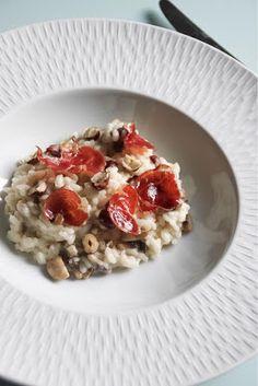 Risotto automnal : champignons, noisettes et chips de coppa