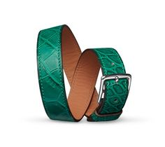 "Etriviere Double Tour GM Hermes bracelet (size M) Matt malachite green alligator calfskin  Palladium plated, 2.5"" diameter, 0.5"" wide, 7"" circumference."