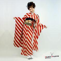 bold red striped kimono