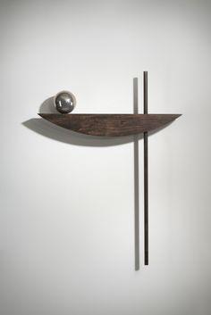 "Slippery Slope 47 x 36 x 6"" Black Walnut, Silver Ball #sculpture #bettymcgeehan #wallsculpture #abstract"