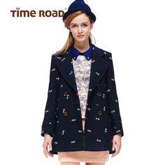 Time RoaD/汤米诺复古碎花双排扣修身中长款毛呢大衣T183A1111001-tmall.com天猫