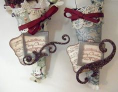 Paper Cones can be made in a variety of sizes from left over bits and scraps that would normally be thrown away and are a great way to recycle those items into Christmas ornament keepsakes. Image found at http://erinscrafts.blogspot.com/2009/11/paper-cones-what-fun.html