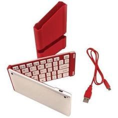 iWerkz Red Folding Bluetooth Keyboard for Smartphone Tablet Free US Shipping