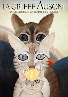 "Poster by Etienne Delessert , 1987, ""La griffe Ausoni"", Family Fashion House."