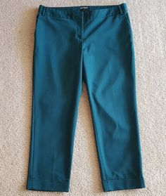 511fa6047a0 Women s EXPRESS Editor Double Weave Ankle Dress Pants size 12 Dark Teal  Green  fashion