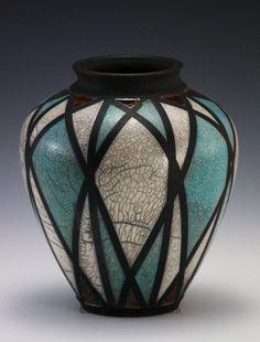 jlw ceramics | divided light raku vase jlw ceramics
