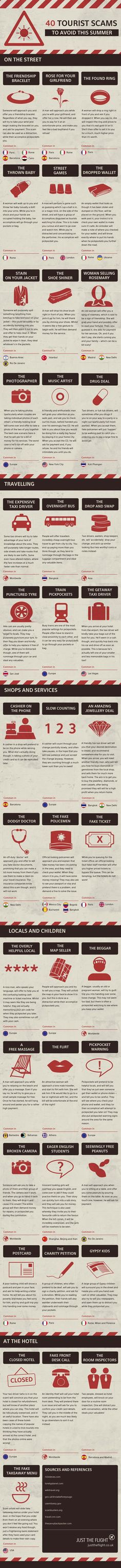 "40 Tourist Scams To Avoid This Summer #infographic Jajaja es verdad, las que ""regalan"" romero las he visto sólo en Madrid xD"