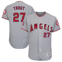 8ed66e119 Men's Los Angeles Angels Mike Trout Majestic Road Gray Flex Base Authentic  Collection Player Jersey.
