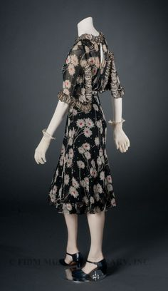 1937 - Chanel afternoon dress embellished with ruffles. FIT Museum, but looks SO much like ossie clark