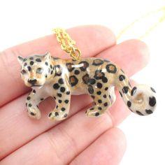 Porcelain Leopard Jaguar Shaped Hand Painted Ceramic Animal Pendant Necklace | Handmade