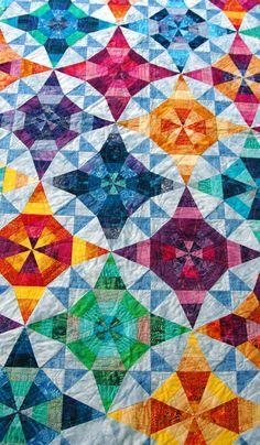 Kaleidoscope quilt with batiks, two blocks