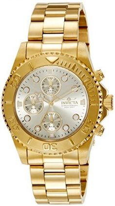 Invicta Men's 1774 Pro-Diver Collection 18k Gold Ion-Plated Stainless Steel