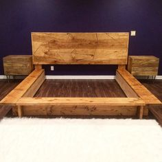 Diy Bed Frame, Bed Frames, Reclaimed Wood Bed Frame, Handmade Furniture, Pallet Furniture, Pallet Projects, Home Crafts, Tree Houses, Woodworking Ideas