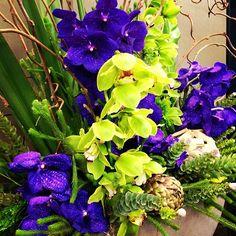 Witness beauty & grace. Flowers of the week: Purple Vanda Orchids, Green Cymbidium Orchids, Green Artichokes, Green Leucadendron. Nature is stunning.