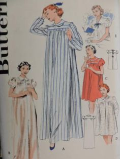 Sewing Patterns For Kids, Cool Patterns, Vintage Sewing Patterns, Halloween Patterns, Costume Patterns, Womens Nighties, Nightgown Pattern, Lingerie Patterns, Long Sleeve Gown