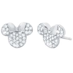 These Minnie Mouse Stud Earrings by CRISLU feature our style icon adorned with handset flawless cubic zirconia. Crafted from sterling silver, with either a platinum or rose gold finish, these earrings bring Disney sparkle to any occasion. Baby Earrings, Girls Earrings, Women's Earrings, Disney Earrings, Disney Jewelry, Kids Jewelry, Minnie Bow, Minnie Mouse Pink, Mickey Mouse