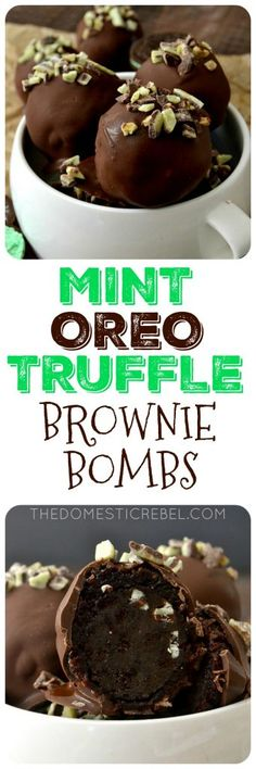 These MINT OREO TRUFFLE BROWNIE BOMBS are a minty delight! No-bake mint Oreo truffles wrapped in a fudgy baked brownie and coated in chocolate & Andes Mints. So simple to whip up and a great way to impress anyone you serve!